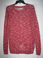 NWOT LC LAUREN CONRAD RED PINK MARLED SMALL STRIPE HI LOW KNIT SWEATER TOP