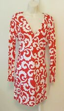 Diane von Furstenberg Reina Spiral ferns large hot coral orange tunic dress 4