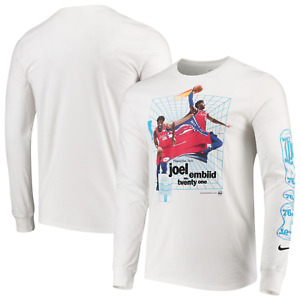 Philadelphia 76ers T-Shirt Men's Nike Joel Embiid Warp T-Shirt - White - New