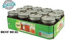 8oz Half Pint Mason Canning Jars with Lids Band Ball Wedding Glass Jar Set of 12