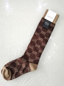 GUCCI LADIES CURRENT GG PATTERN BROWN COTTON BLEND SOCKS