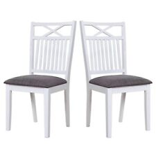 Melbourne Island Pair of White Dining Chairs with Grey Fabric Seat Pad MEL003