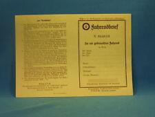 Original Fahrradbrief für ein Gebraucht-Fahrrad der 20er Jahre. LgNr. F2267