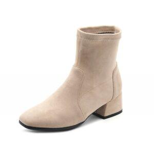 Women Chelsea Flats Low Heel Elastic Top Square Toe Ankle Boots Outdoor 34-43 D