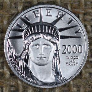 2000 $10 Platinum Eagle Statue of Liberty 1/10 oz Platinum