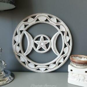 White Wooden Round Triple Moon Wall Plaque Pagan Wiccan Home Decor