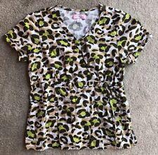 Koi Scrubs Top Large Animal Print Nurse Medical Uniform Shirt L