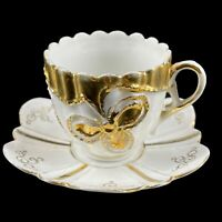 Vintage Porcelain Demitasse Chocolate Cup & Saucer White Embossed Gold Trim