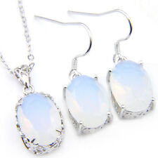 Fashion Gorgeous Jewelry Natural Moonstone Gems Silver Pendant Earrings Set