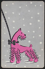 1 Single VINTAGE Swap/Playing Card DOG SCHNAUZER LEAD BOW & SNOW Pink/Grey