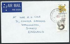 c. 1974 35c Tailem Bend South Australia Air Mail Postal to UK 30c Possum 5c Coil