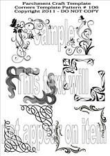 Parchment Craft Template - Borders Corners Butterfly Swirl Pattern 106