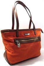 Michael Kors Orange Brown Tote Shopper Satchel Shoulder Purse Bag Lock Tag/Charm