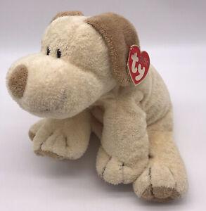 Ty Pluffies Plopper Puppy Dog plush stuffed toy 2002 cream/tan sewn eyes G6