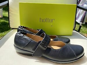 HOTTER «ALICIA» BLACK LEATHER MARY JANE SHOES SIZE 6 STANDARD FIT BNIB