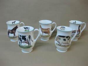 5 Dandy Lines Fine Bone China Mugs ~ Pig Cow Horse Goat Duck