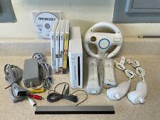 Nintendo Wii Console Bundle w/ 2 Controllers, 5 Games (Mario Kart,Indiana Jones)