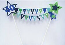 Handmade Personalised Cake Topper Birthday Bunting Any Name Message Boys Mens