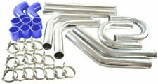 """8 pcs 3"""" Universal Chrome Intercooler Piping+ Blue Silicone Coupler+Clamp Kit"""