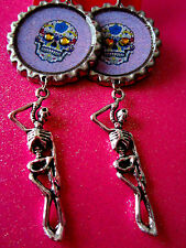Day Of The Dead Sugar Skull With Skeleton Dangle Charm Earrings #10