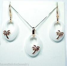 """TAPERED OVAL WHITE CERAMIC ROSE GOLD OVER STER SILVER HAWAIIAN PALM TREE SET 18"""""""