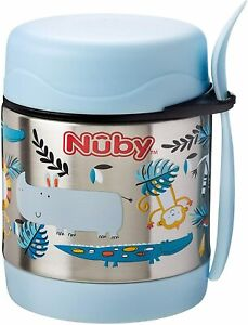 STAINLESS Nuby Thermos Jar Insulated Food Flask Keeps Food Hot and Cold Kids