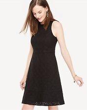 NWT ANN TAYLOR Black Eyelet Sleeveless Flare Dress Size 12