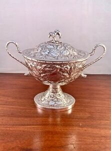 RARE S. KIRK & SON COIN SILVER 11OZ TUREEN REPOUSSE FLORAL W/ HERALDIC 655G