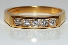18CT YELLOW  GOLD CHANNEL SET .25CT DIAMOND HALF ETERNITY WEDDING BAND RING N1/2