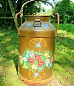 Große alte bemalte 30 Liter Milchkanne Bauernmalerei ohne Deckel