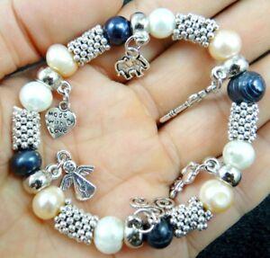 Women white black freshwater pearl beads Small anim Elastic bracelet  Jewelry