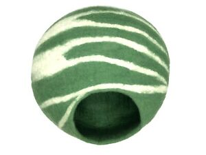 Felt Green Cat Cave With White Stripes - Handmade Cat Bed - From Nepal