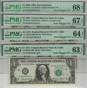4 NOTE $1 FEDERAL RESERVE NOTE MATCHING RADAR-REPEATER SERIAL PMG CERTIFEID