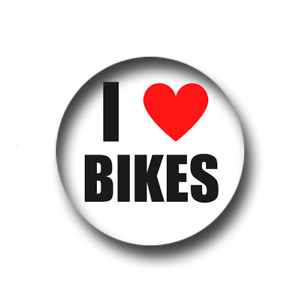 I LOVE BIKES PIN BADGE (1 inch / 25mm) CHEAP POSTAGE FOR BULK BUYS