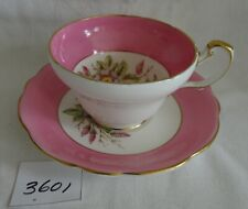 Vintage FOLEY Cup & Saucer Signed A Taylor Wide Pink Rim Misc Flowers hand paint