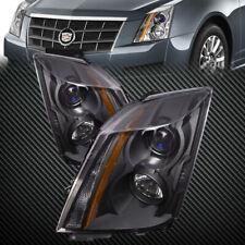 Headlights Set Black Housing Halogen Pair Fits 2008 2015 Cadillac Cts Fits 2010 Cadillac Cts
