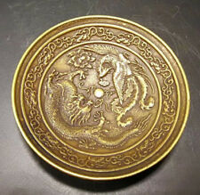 Antique Collectible Chinese Old Brass Handmade Carved dragon and phoenix dish
