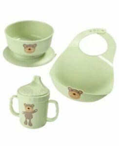 New Three Pieces Pale Green Teddy Bear Baby Feeding Set 3: Cup, Bowl, Bib