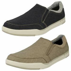 Mens Clarks Cloudsteppers Step Isle Slip Canvas Shoes
