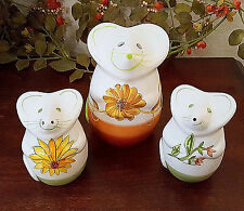 Laurie Gates Mouse Shaker Collection Set of 3 Cheese Salt Pepper White Flowers