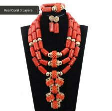 Traditional Real Coral Beads Gold 3 Layers Wedding Bridal Nigerian Jewellery Set