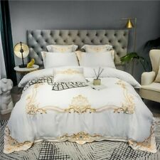 Glossy Soft Satin Silk Cotton Embroidery Palace Bedding Set Bed Fitted Sheet