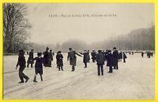 CPA Rhône LYON en 1907 Parc de la Tête d'Or GLISSADE sur le LAC Gelée Militaires