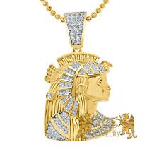 "Yellow Gold Over Real Silver ""Egyptian Queen Nefertiti"" Custom Pendant + Chain"
