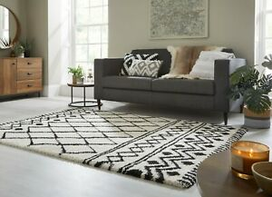 DAKARI SOUK BERBER STYLE TRIBAL THICK PILE SOFT SHAGGY IVORY BLACK RUG CARPET