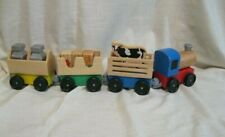 Melissa & Doug Wooden Farm Train with Engine and Cars  Complete Set used