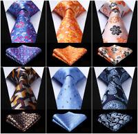 Men's Floral Paisley Silk Necktie Handkerchief Set Party Wedding Classic Ties