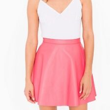 NWT American Apparel Women's Leather Mini Circle Skirt in Coral Size MEDIUM