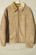 V7283 Claiborne Beige Microfiber Zip Up Fleece Lined Jacket Women's L