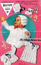 BABY DRESS, BONNET,JACKET & BOOTEES 3ply / birth to 1 - COPY knitting pattern